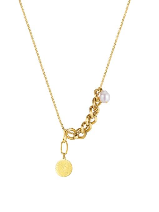 2018 [steel necklace] Titanium Steel Geometric Minimalist Lariat Necklace